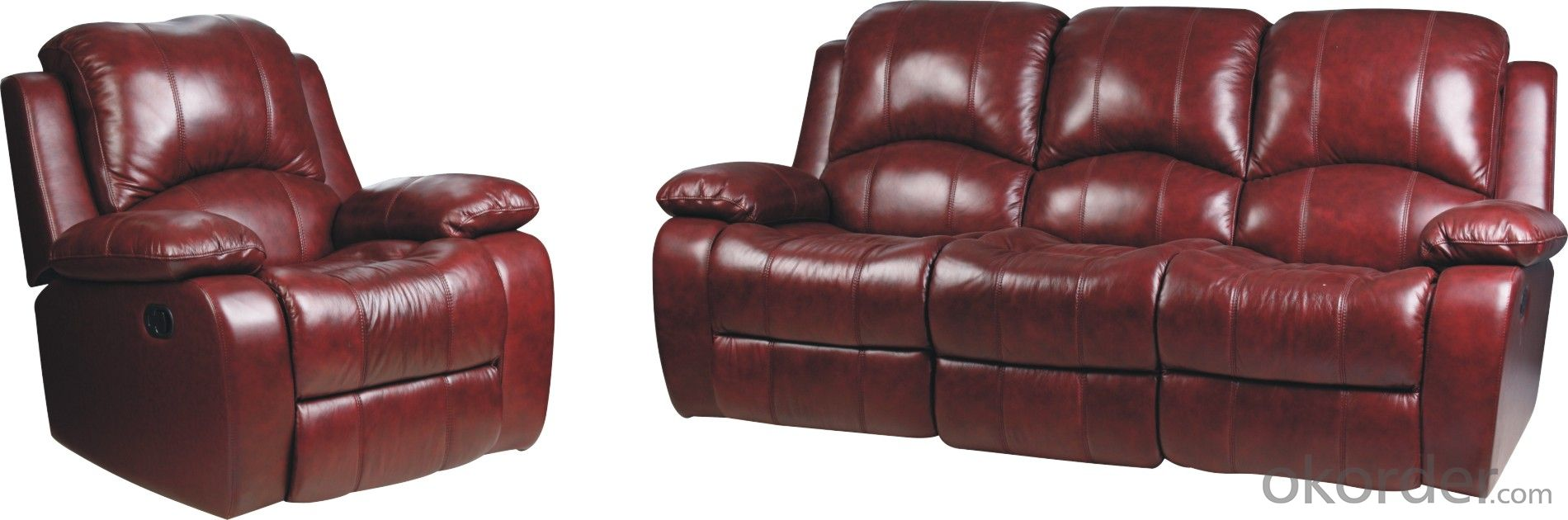 Modern recliner sofa real import leather