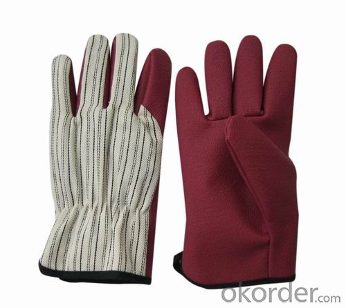 pvc diotted cotton glove
