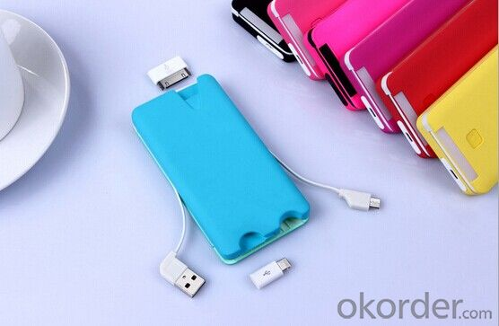 Build-in Cable and high quality portable charger with capacity 5000mah portable for  mobile