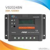 Regulador de carga PWM con LCD para paneles solares 10A, 12/24V con CE ROHS 20A, 12V/24V, VS2024BN