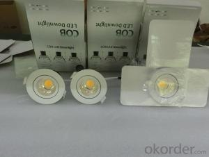 COB LED down light,dimmable LED down ligh with color box packge