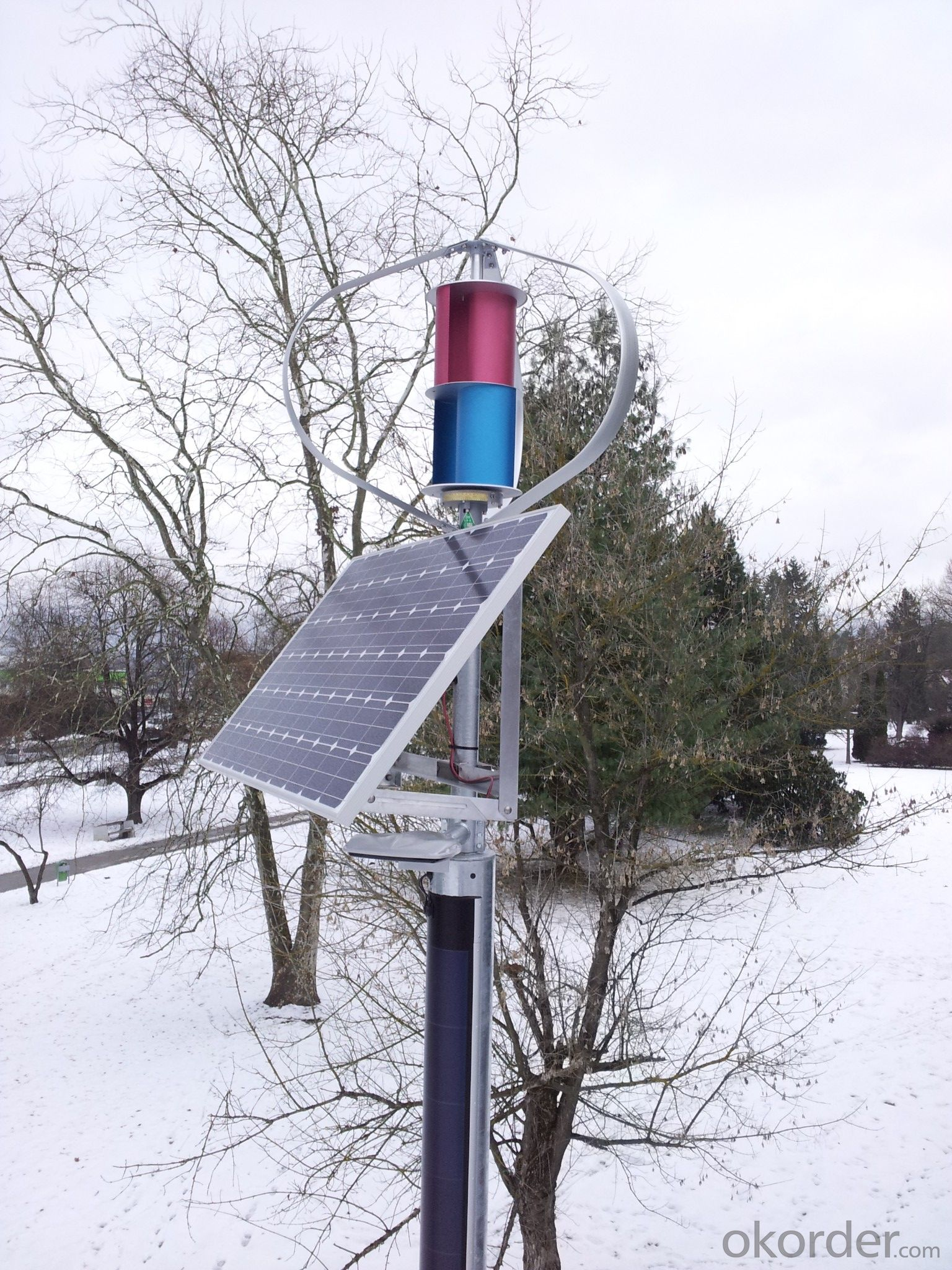 Wind-Solar Hybrid LED Street Light with 60W Lamp