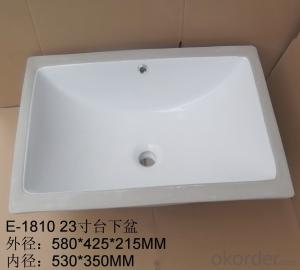 white ceramic stone under counter basin 23-inch