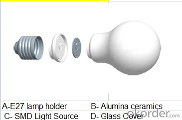 LED bulb, E27 screw-on, Ø55mm*104mm, 3.5W, 8leds, SMD2835, 250-350lm, White 5500-6500K, Ceramics+Glass
