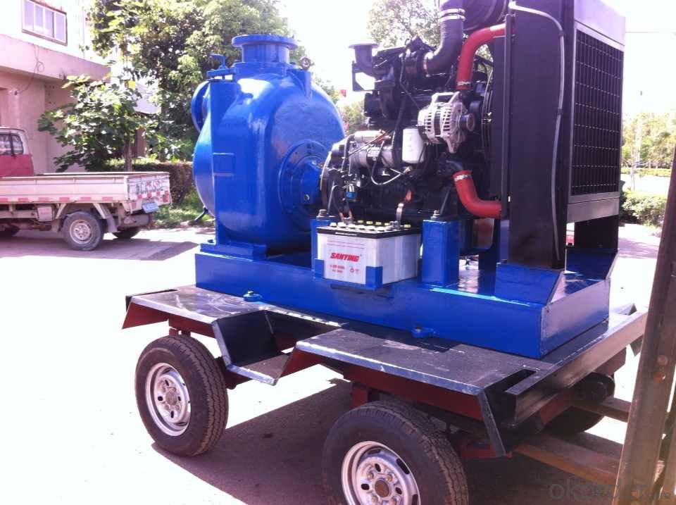 Self priming 6 inch diesel water pump with trailer