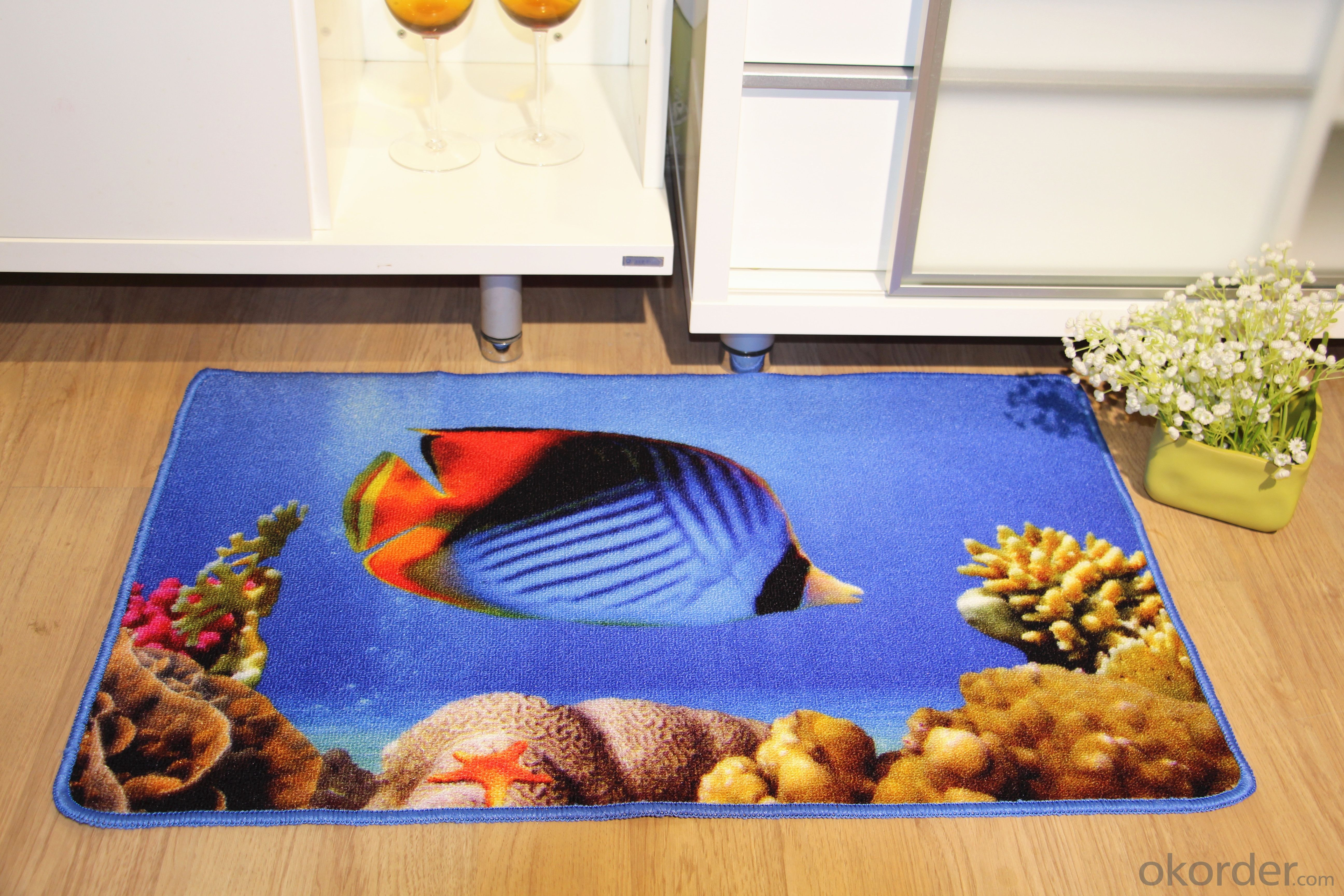 Good Quality Nylon Printed Carpet with Fish Pattern