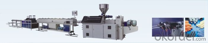 PVC Plastic Double Pipe Extrusion Production Line with Conical Twin Screw Extruder