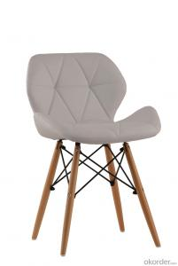 Upholstery modern dining chair with wooden legs