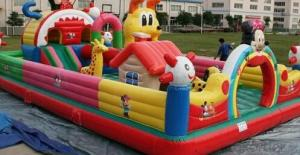 Rainbow funny hot-sales inflatable castle with slide