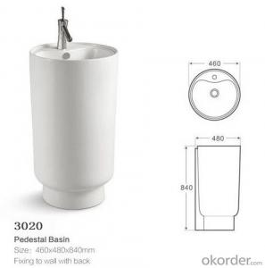 floor standing bathroom ceramic pedestal basin - 3020