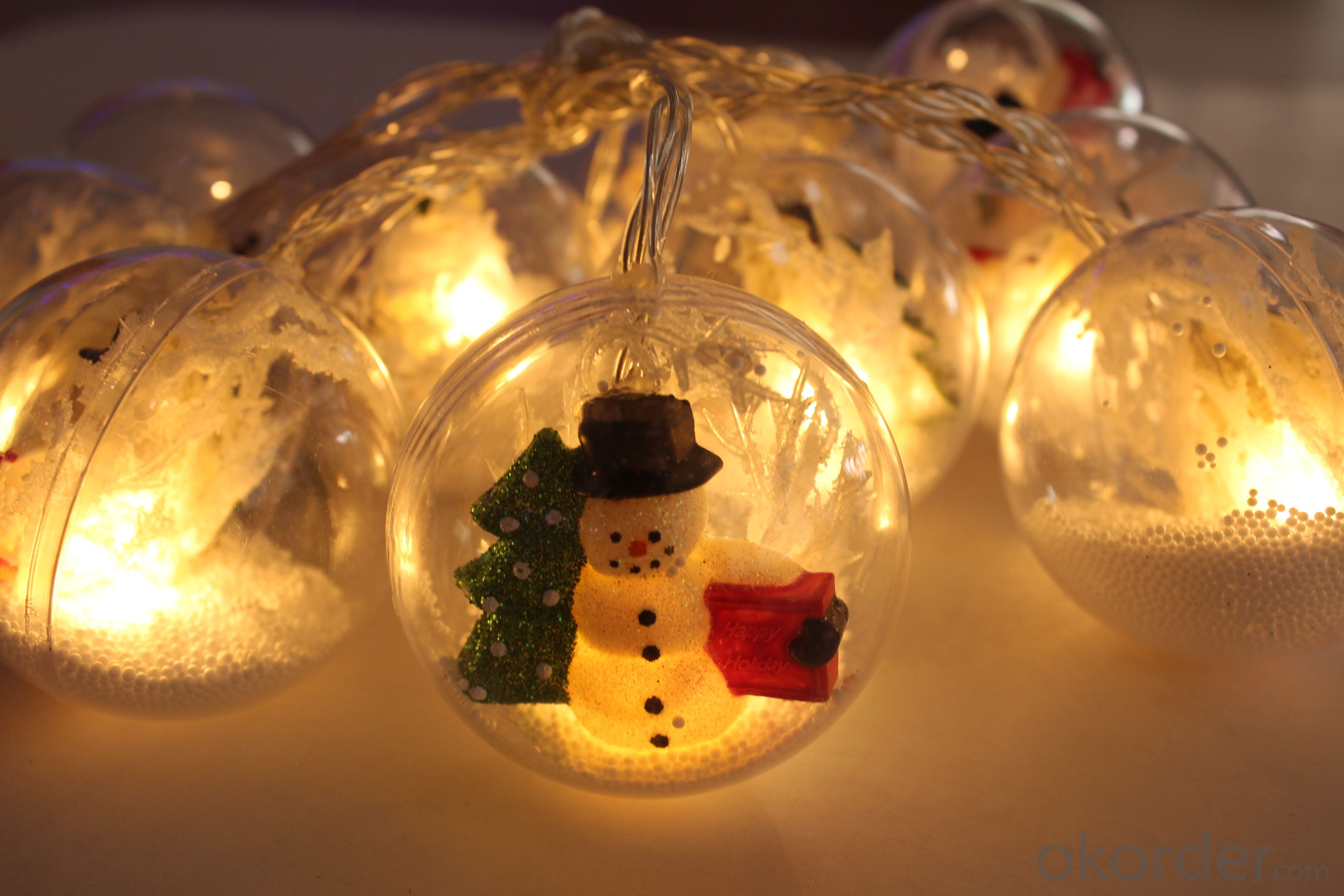 Battery Lights String with Snowman Ball Ornament