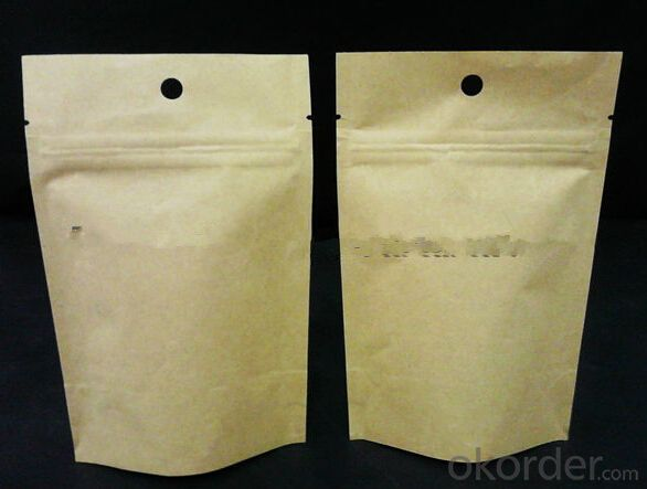 Ziplock stand up kraft paper bag with valve/bags for roasted coffe beans