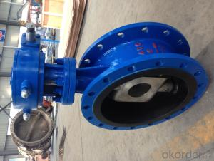 BS EN 593 Three Eccentric Rubber Seal Flange Butterfly Valve