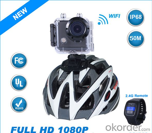 Sport Camera 1080P 30fps 150 Degree Wifi and Smart Watch Control