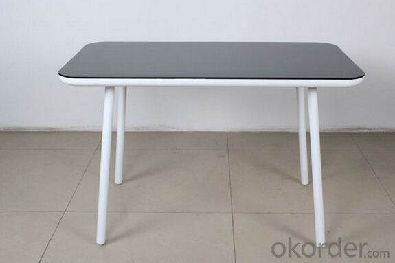 Modern Design Simple Glass with Panel Dining Table