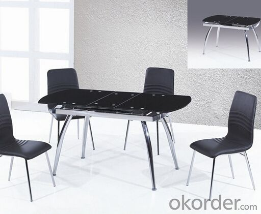 Glass Dining Table with Chromed Frame,Fashion Design