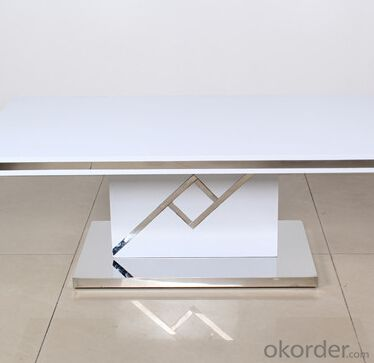 Medium Density Fiber Board Dining Table with Metalstrip