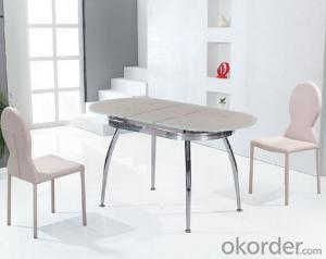 Simple Design Glass Dining Table with Chromed Frame