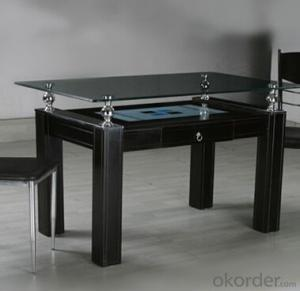 Black Lacquer Medium Density Fiber Board Dining Table