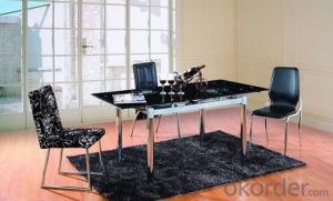 Modern Design Glass Top Extension Dining Table