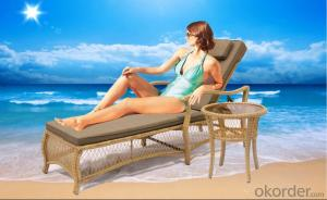 Wave Shape Rattan Sun Lounger for Outdoor