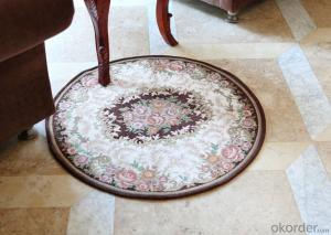 Round Shape Chenille Polyester Jacquard Living Room Rugs
