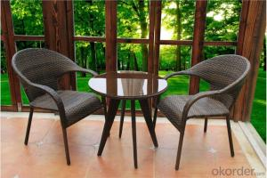 PE Wicker Outdoor Garden set with 2 chair and 1 table for Outdoor
