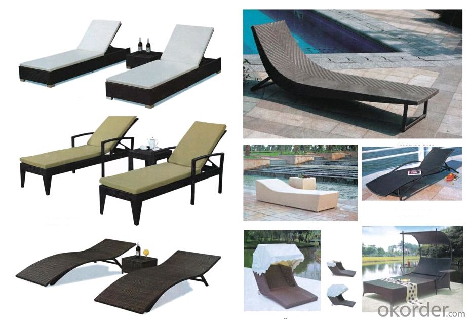 Outdoor black rattan/wicker sun(beach) lounger with corner table