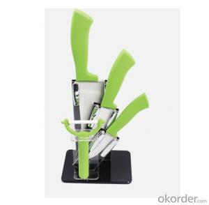 Art no. HT-TS1006 Ceramic knife set with acrylic stand