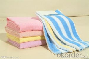 Microfiber cleaning towel with light blue and black bindings