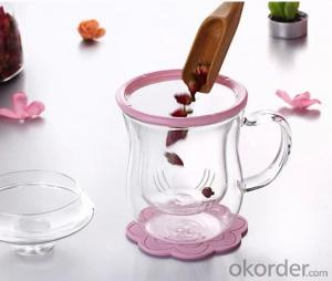 transprent double wall thermos glass cup with handle