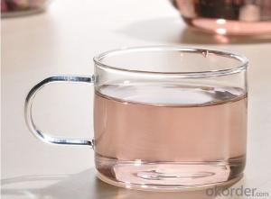 single wall transprent glass tea cup with handle
