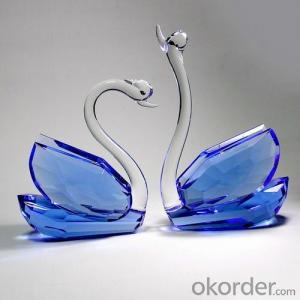 Blue crystal swan set for gift and decoration