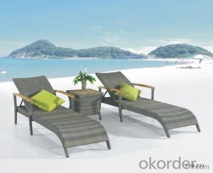 Outdoor Rattan Sun Lounger Beach Chair Chaise Lounger
