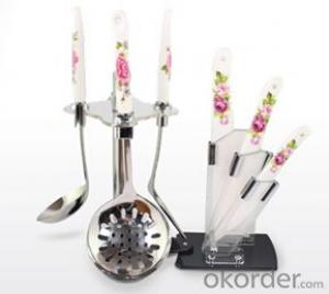 Art no. HT-TS1015 kitchenware &Ceramic knife set with acrylic stand