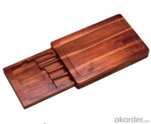 F-B004 acacia wood knife box and chopping block