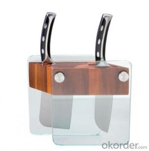knife seat,F-KB001 acacia wood&glass knife seat