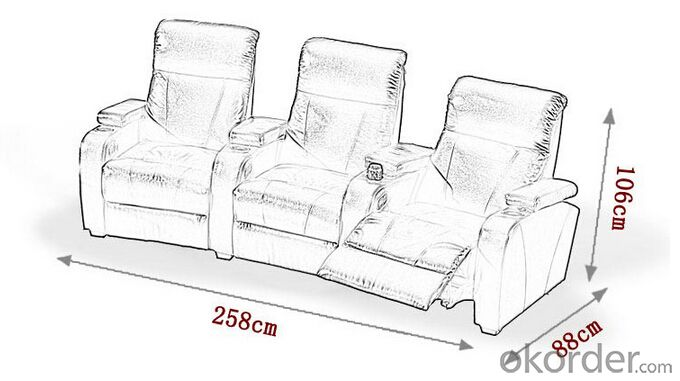 Recliner Sofa by Leather and Manual Recliner, European Style