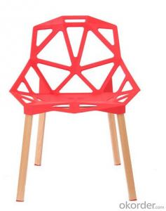 plastic chair Cheap triangle shape engraving plastic chair with solid wood legs stackable