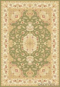 Viscose Wilton  Carpet and Rug Green Color Persian Design