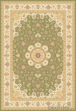 Viscose Wilton Carpet and Rug Green Color with Custom Design