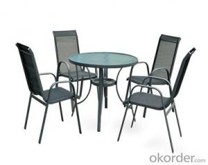 Texitilene Outdoor Table and Mesh Dining Chair