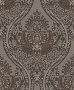 Nonwoven Wallpaper  Velvet flocking Wallpaper   New design Damask Wallpaper