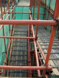 Frame Connected Scaffolding of Easy and Fast Operation