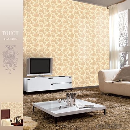 PVC Wallpaper Good Quality  Floral Modern Style Deep Embossed Vinyl Wallcovering