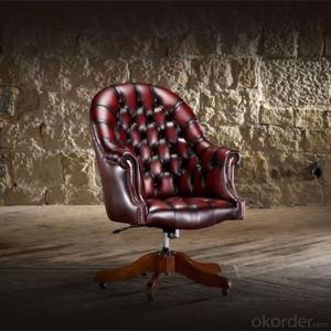 Director's Chair with Red Leather and Matching Buttons