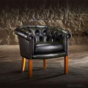 Tub Chair with Black Leather and Wooden Foot