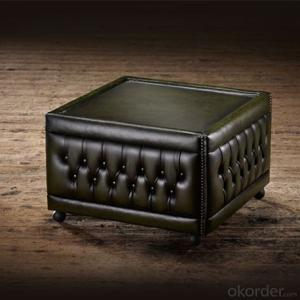 Buttoned Pouffe Table with Practical Table Surface