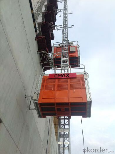 1200kg Painted Building Material Twin Cage Hoist 3.6 x 1.5 x 2.5m SC120/120