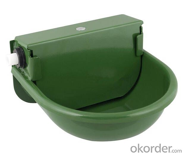 Green Powder Coated Drawing Water Bowl (2.5 L) with Self-Filled Float for Cattle or Horses